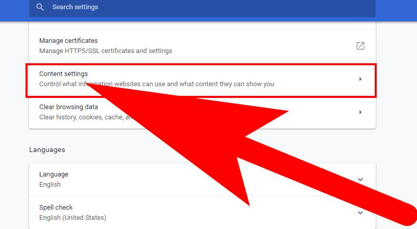 google chrome content settings