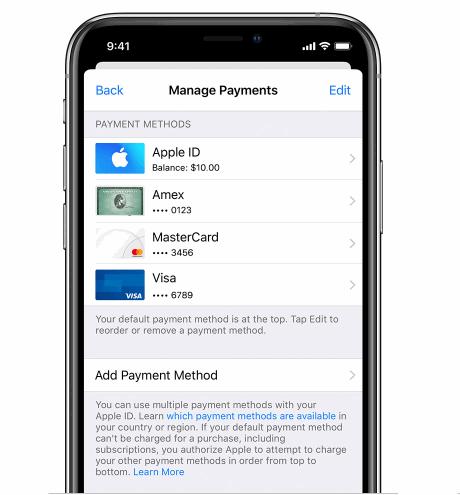 change payment method in apple account