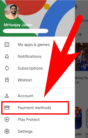 how to remove credit card from google store
