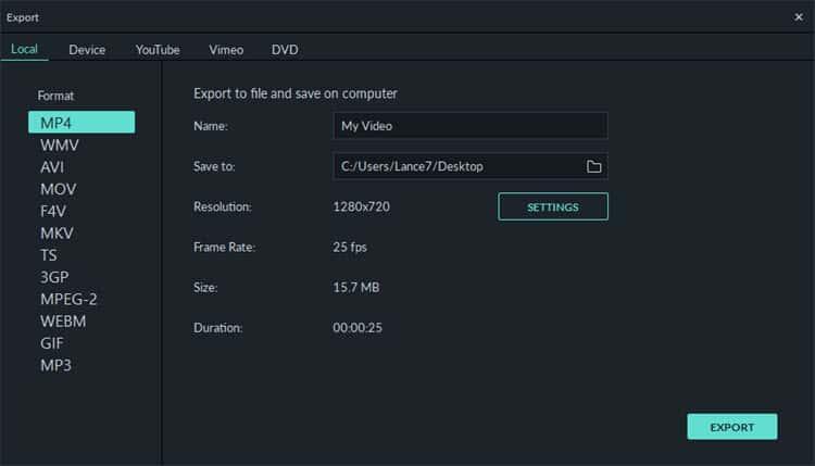 filmora9 export features