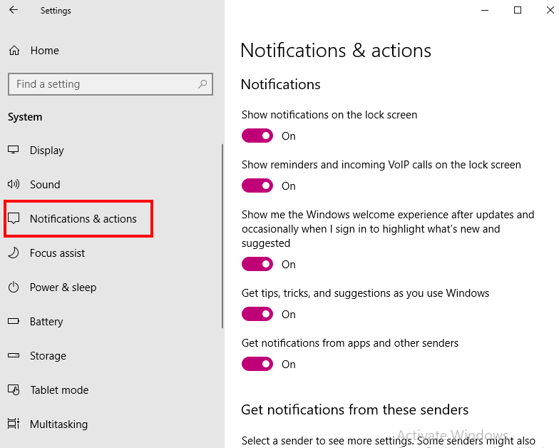 How to disable pop-up notifications on PC