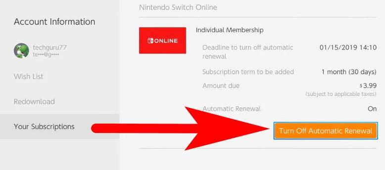 cancel my nintendo switch subscription