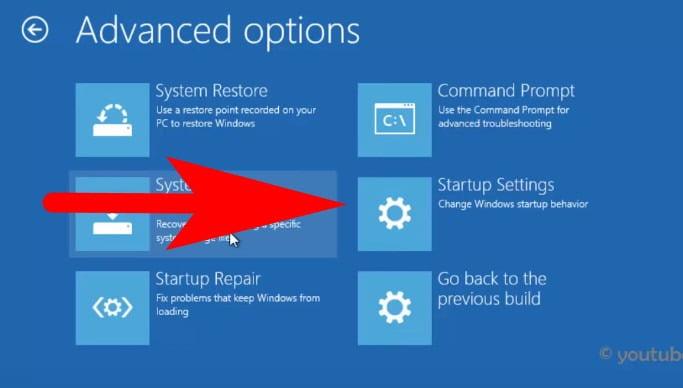 Start up settings in windows 10