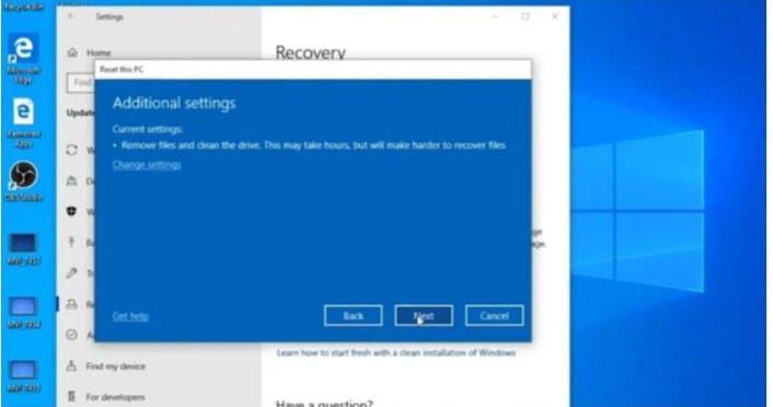 Resetting Windows 10