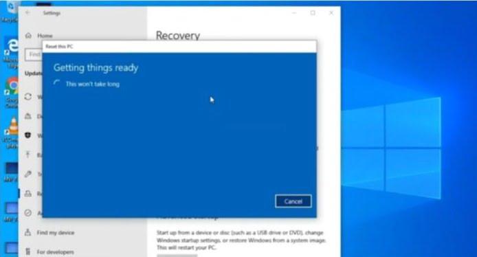Windows 10 Reset Option