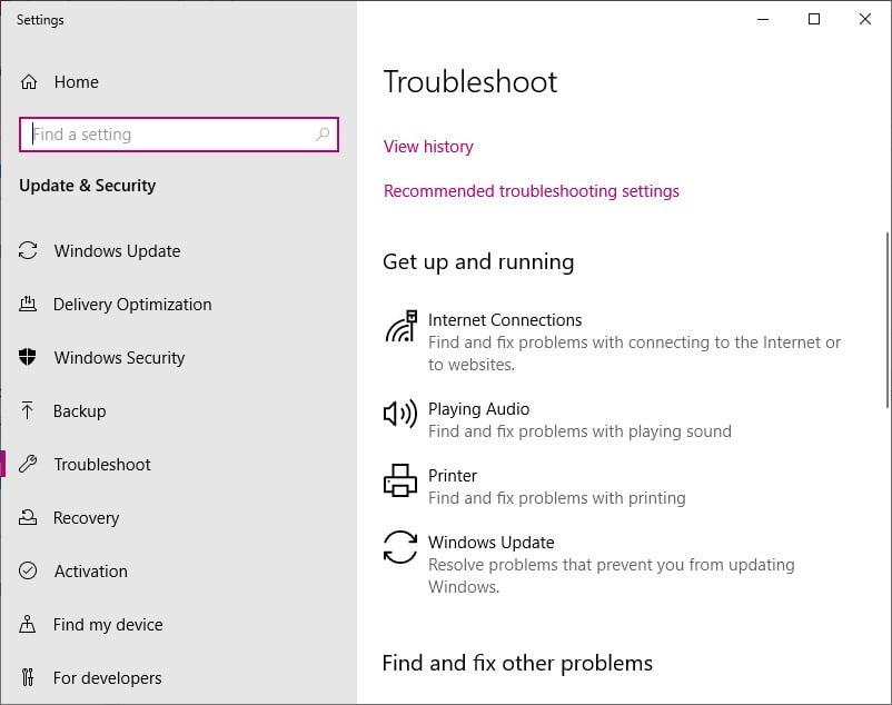 Windows 10 Troubleshooting