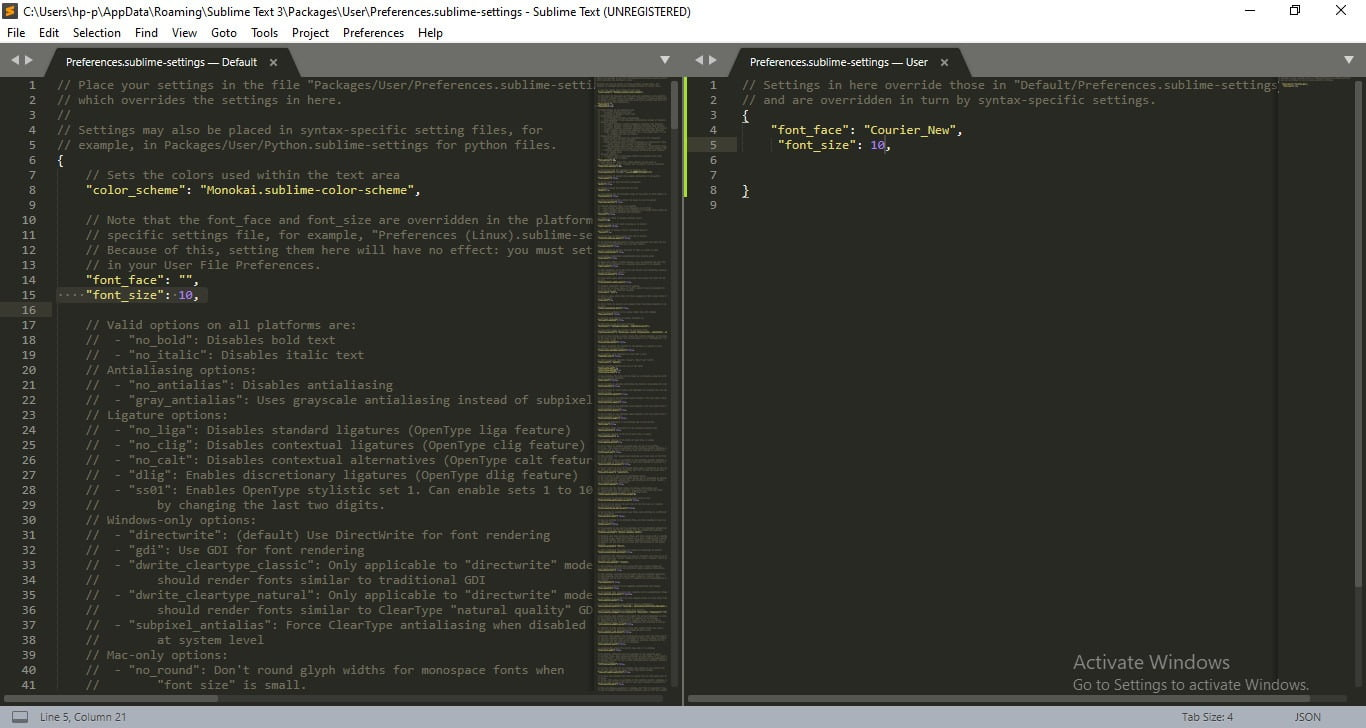 increase font in sublime