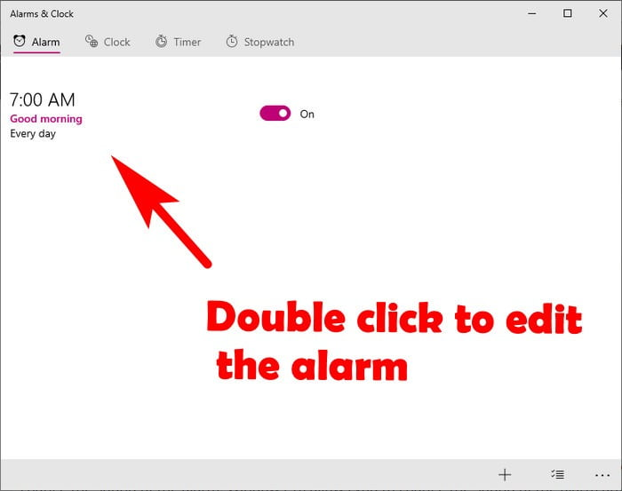 how to edit alarm in windows 10