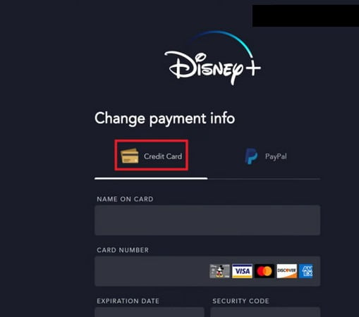 how to remove credit card information from disney plus account