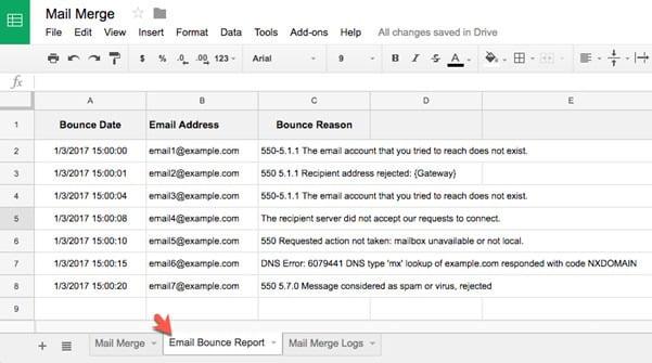 bouce gmail report