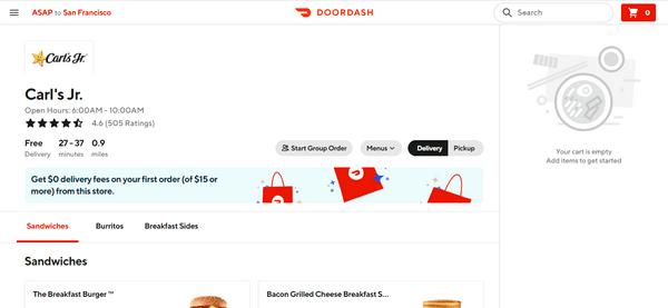 doordash restaurant details