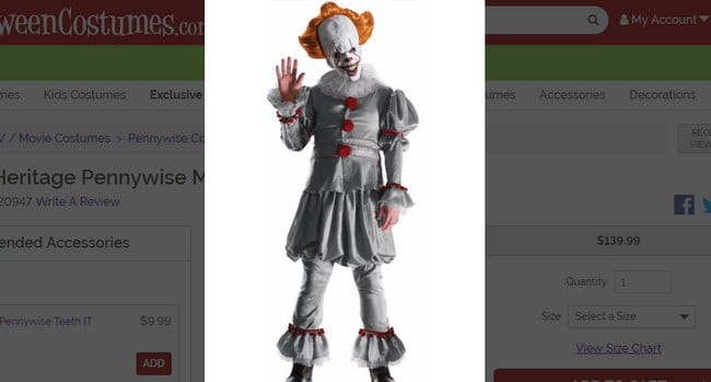 Pennywise Movie Costume