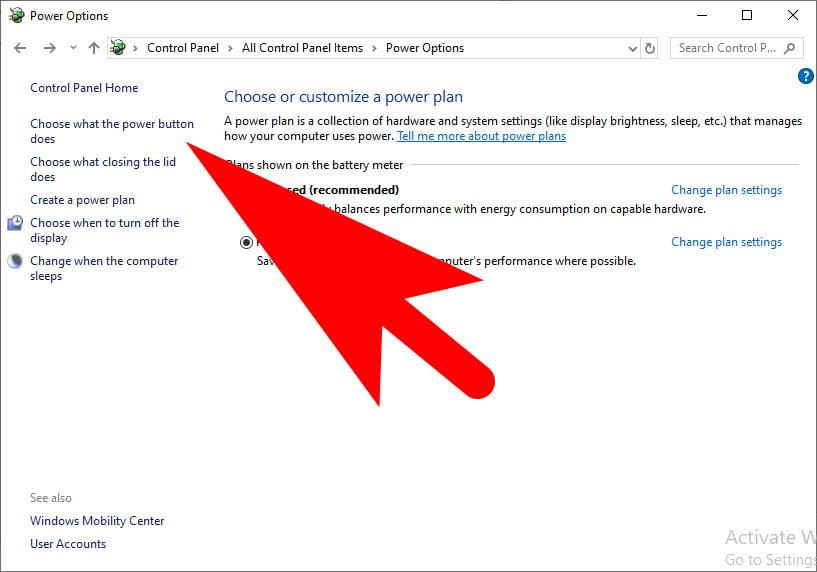 Power Option Windows 10