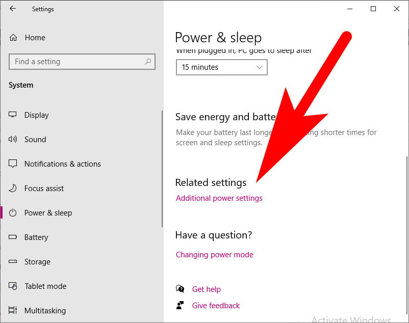 Power Settings in Windows 10