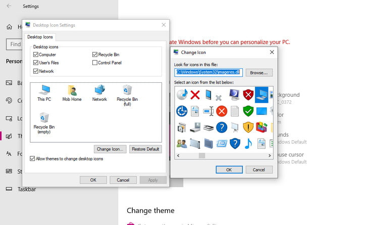 icon change in windows