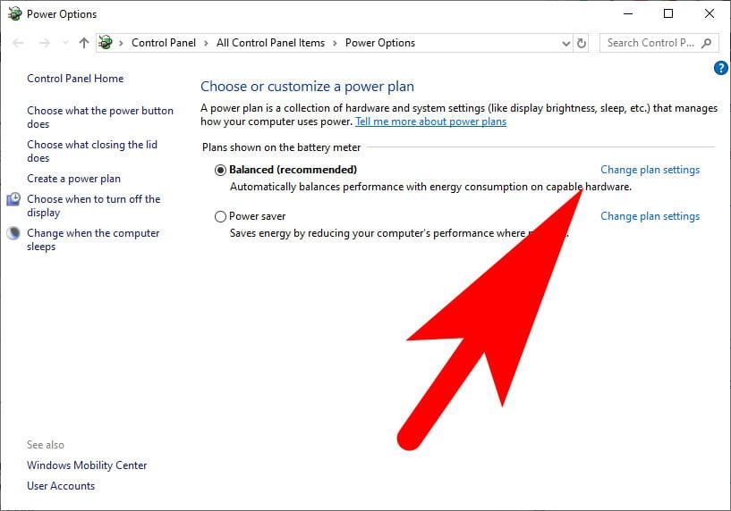 Change Power Settings In Windows