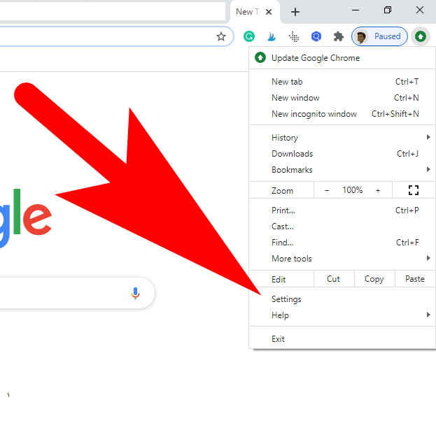 how to open chrome settings