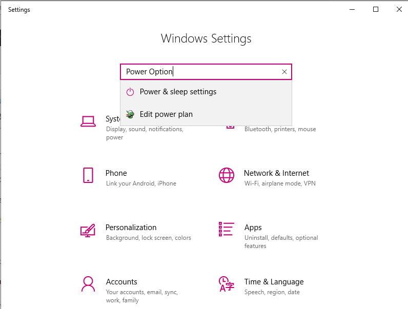Power Settings In Windows