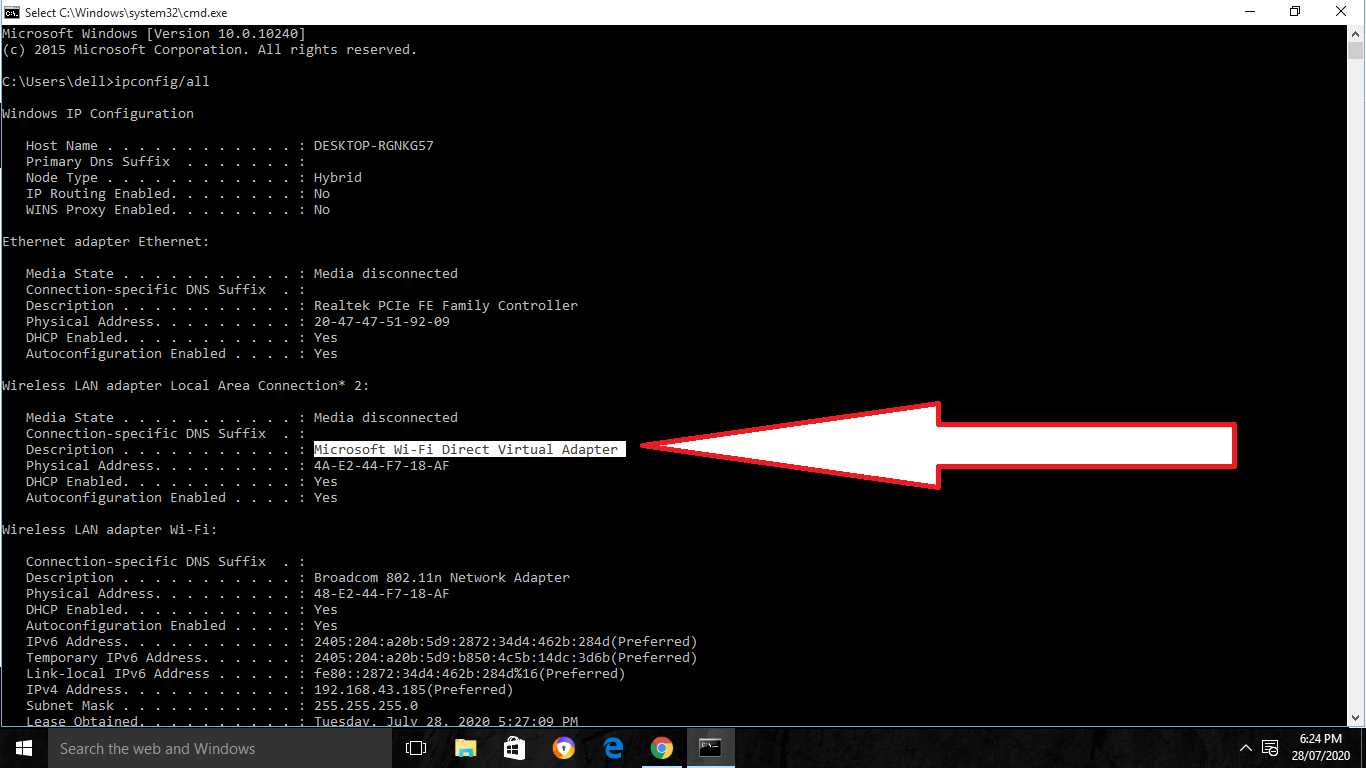 enable wifi direct using command