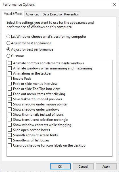 turn off visual effect Windows 10