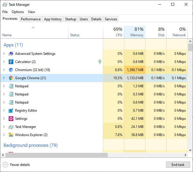 lookup memory use on Windows