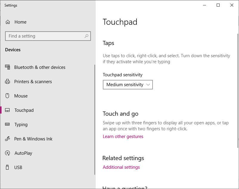 turn on touchpad windows 10