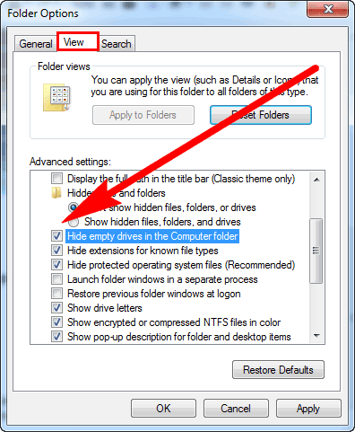 Show Empty Drives in Windows 10