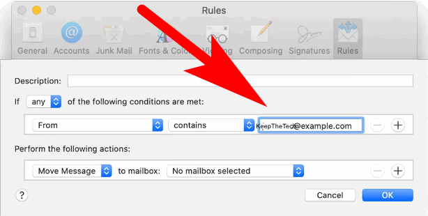 block email on mac