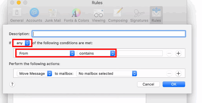 create a filter on mac mail