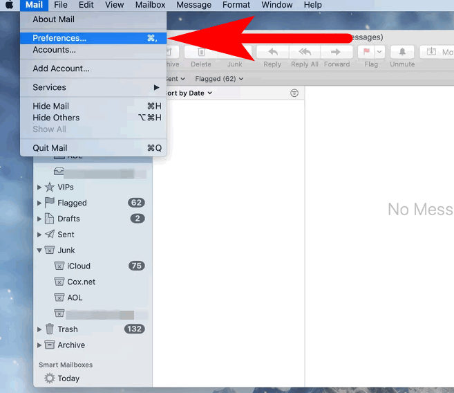 how to open mail perferences in mac