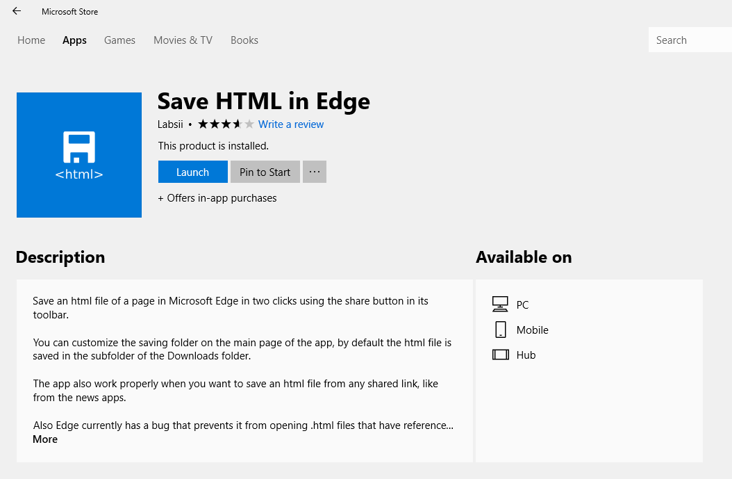 Save HTML File In Edge Browser