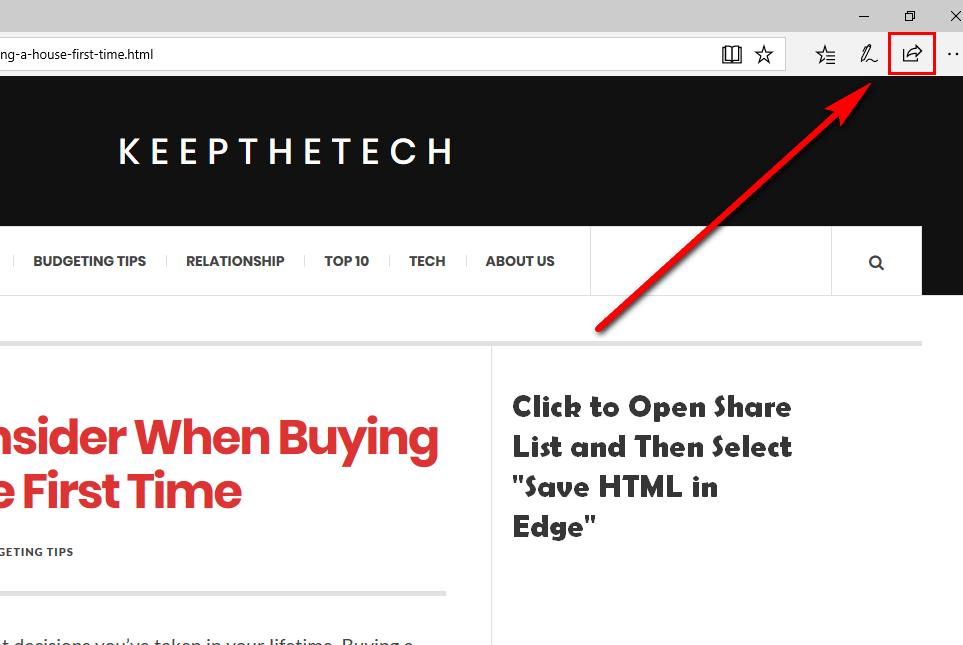 save HTML in Microsoft Edge
