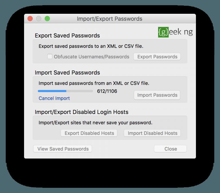 export chrome passwords in Mac
