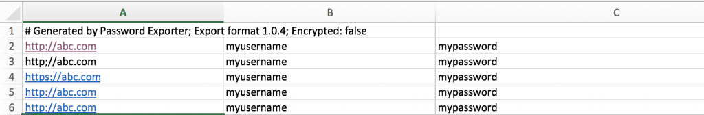 password export from chrome