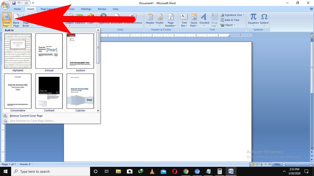 change cover page in word
