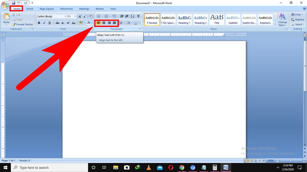 how to justify text in word