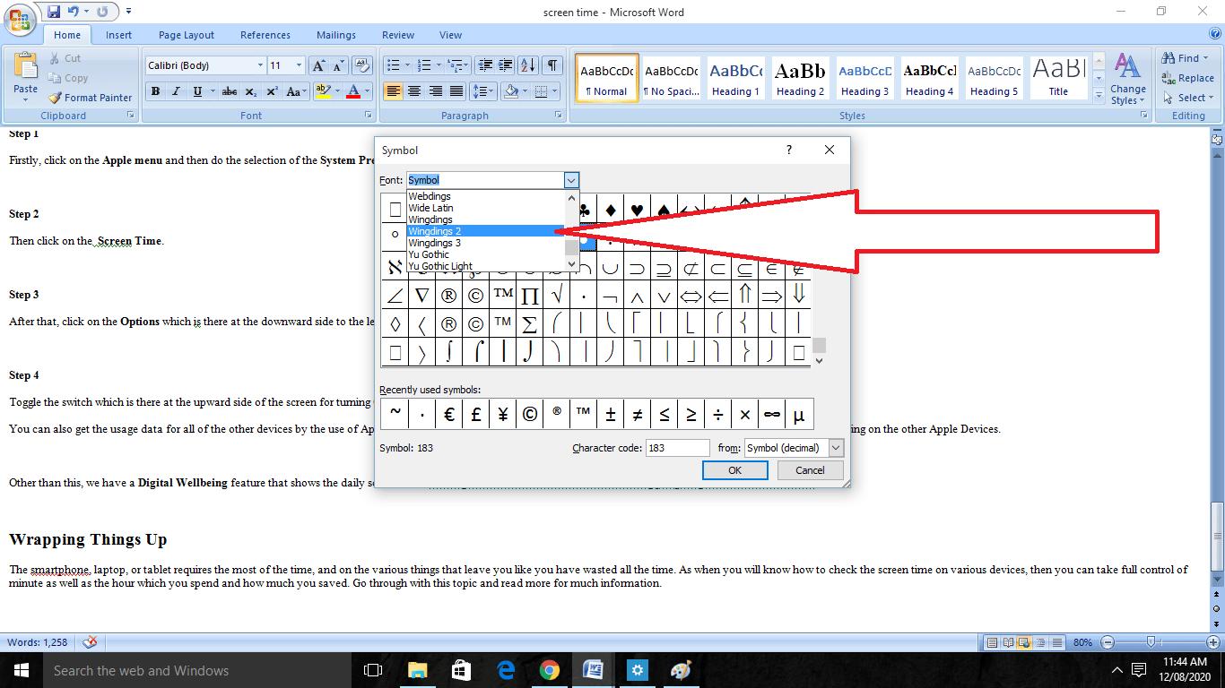 insert Checkbox on MS Word