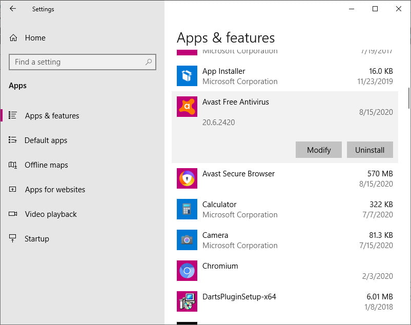 how to uninstall avast in Windows 10