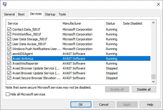 disable avast on windows 10