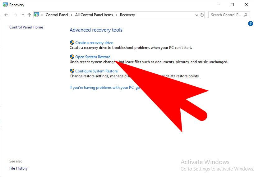 open system restore on windows