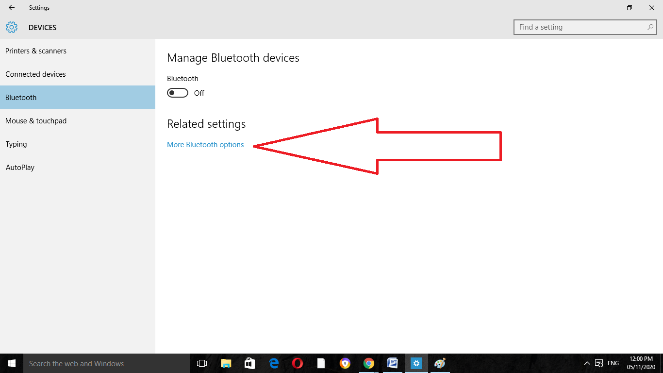 Enable Bluetooth on Windows 10