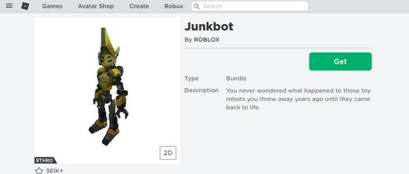 Junkbot on roblox