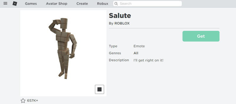 Salute on roblox