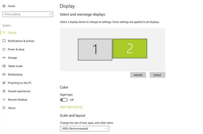 screen resolution of dual display