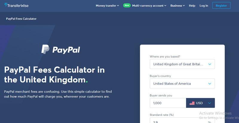 PayPal merchant fees calculator