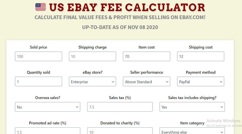 Ebay Profit Calculator