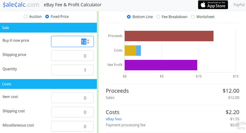 calculator ebay fee