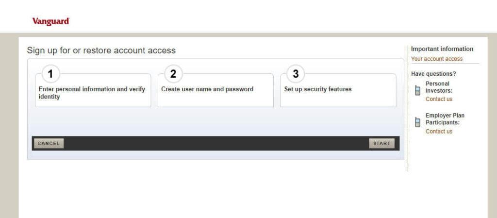vanguard login my account
