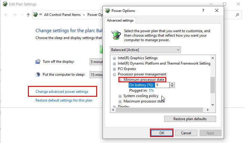 Processor power settings