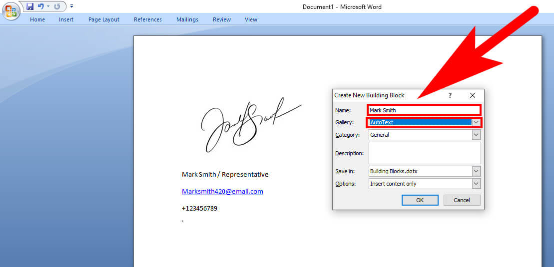 how to add signature in word